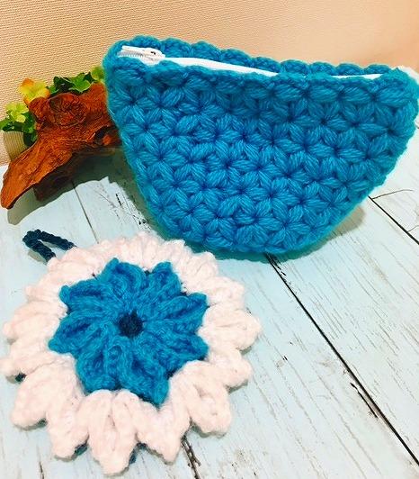 アクリル毛糸で涼しげなエコタワシを編んじゃおう!